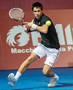 Djordje Djokovic in azione al Challenger di Bergamo 2013 - Foto Antonio Milesi